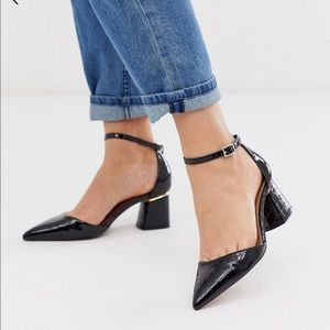 ASOS black business leather pointed low heel shoe